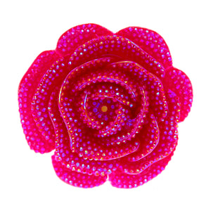 Dark Pink Large Glitter Flower Stretch Ring