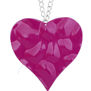 Pink Large Hammered Heart Chain Necklace