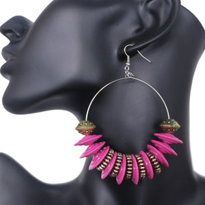 Pink Large Disk Hoop Earrings