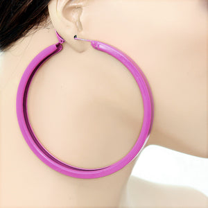 Pink Large Metal Hoop Earrings