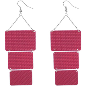 Pink Triple Square Link Drop Earrings