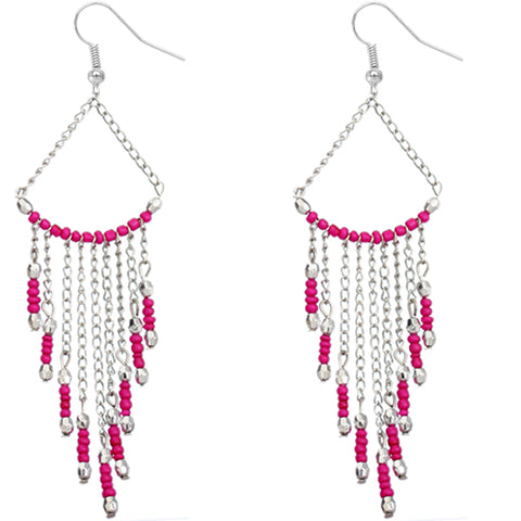 Pink Long Beaded Dangle Earrings