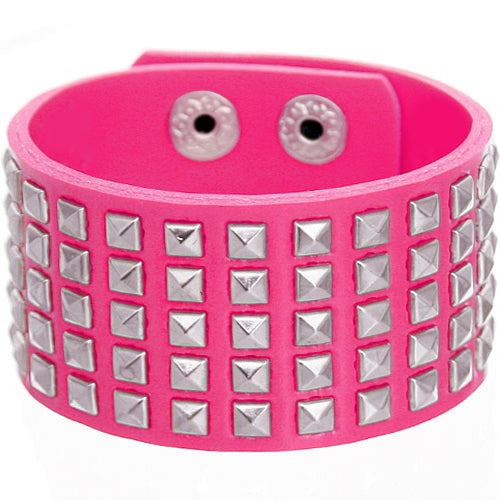 Pink Mini Studded Pyramid Snap Bracelet