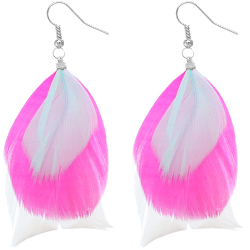 Pink Multicolor Feather Drop Earrings