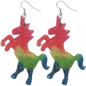 Pink Multicolor Wooden Standing Unicorn Earrings