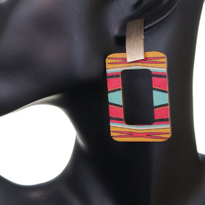 Pink Multicolor Tribal Pattern Rectangle Wooden Earrings