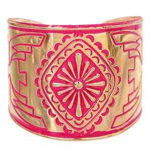 Pink Double Sided Art Deco Metal Cuff Bracelet