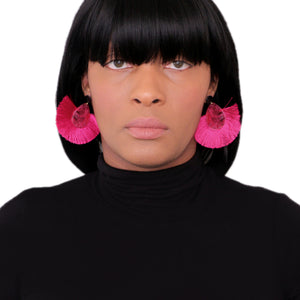 Pink Oval Fan Tassel Earrings