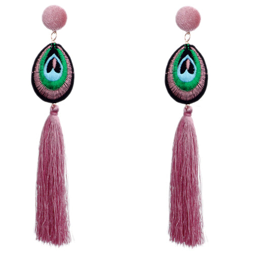 Pink Long Peacock Tassel Earrings