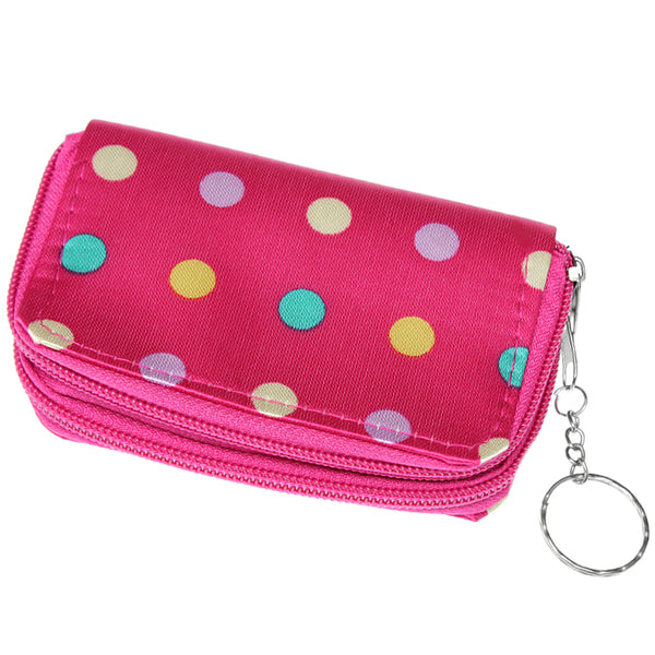 Pink Polka Dot Double Pocket Key Chain Wallet
