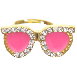 Pink Rhinestone Midi Sunglasses Adjustable Ring