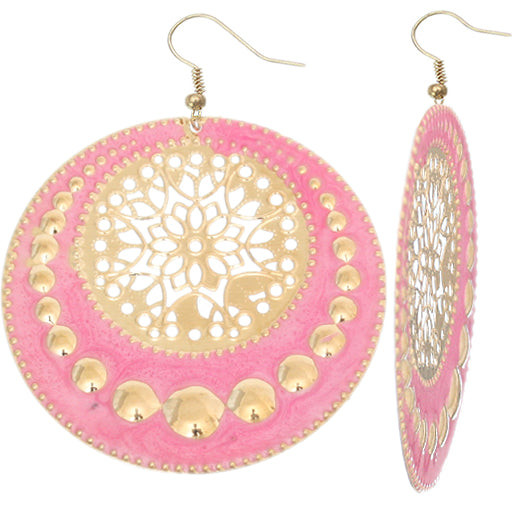 Pink Centered Floral Filigree Dangle Earrings