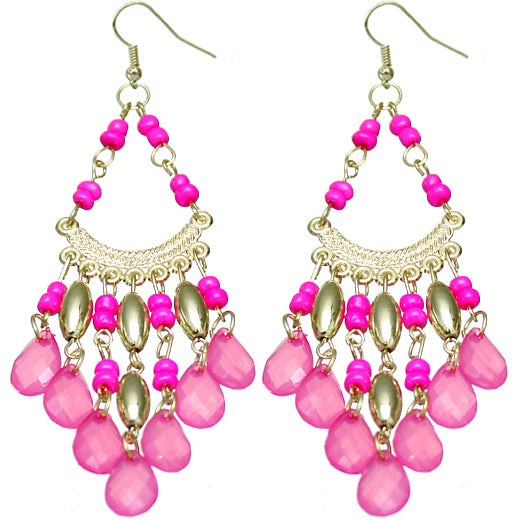 Pink beaded clubwear earrings