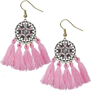 Pink Tassel Fringe Drop Earrings