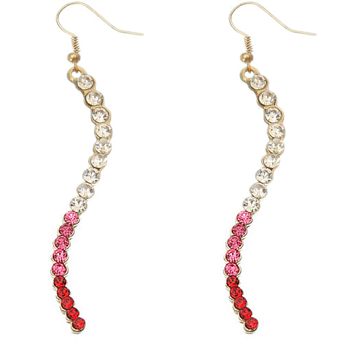 Pink Two Tone Ombre Rhinestone Curve Dangle Earrings