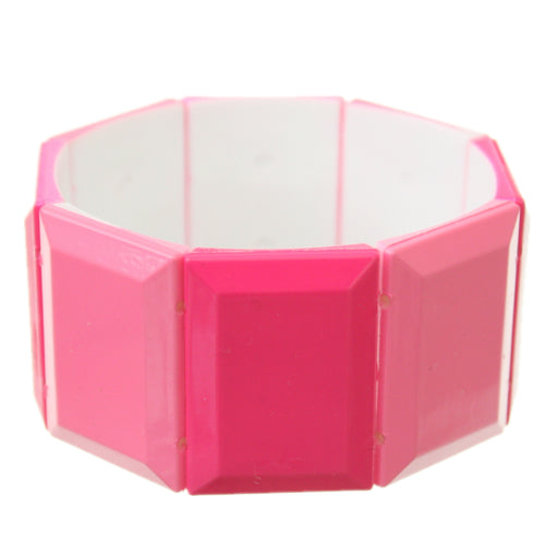 Pink Square Two Tone Stretch Bracelet