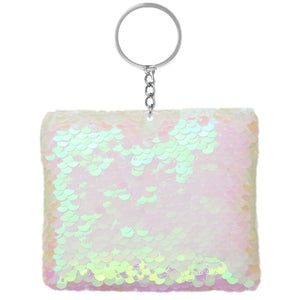 Pink Plush Sequin Keychain