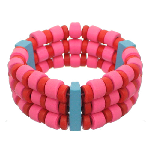 Red Pink Wooden Beaded Stretch Bracelet