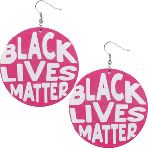 Pink Wooden Black Lives Matter Earrings