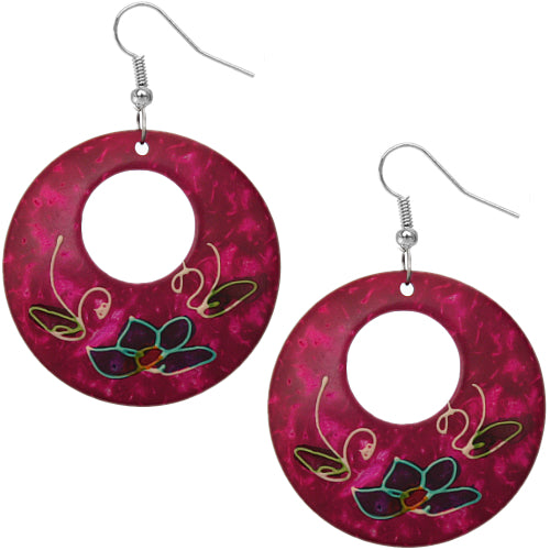 Pink Coconut Hand Painted Floral Earrings