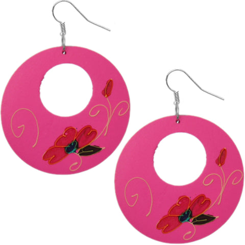 Pink Wooden Hand Painted Floral Earrings