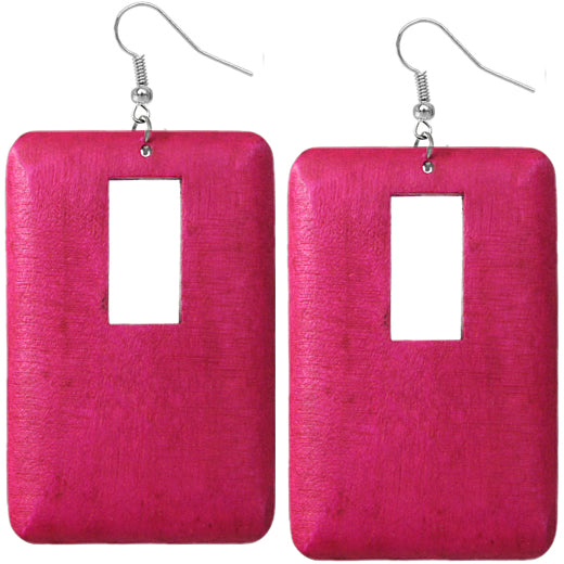 Pink Cutout Rectangle Earrings