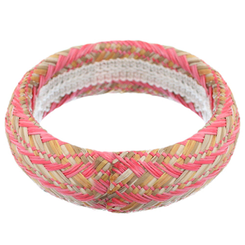Pink Knit Canvas Bangle Bracelet