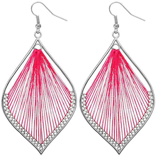 Pink Woven Earrings