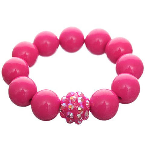 Pink Large Fireball Beaded Stretch Bracelet