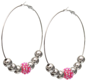 Pink Beaded Rhinestone Fireball Hoop Earrings