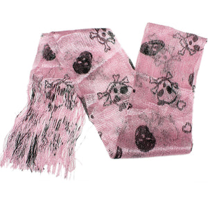 Pink Lightweight 3 in 1 Toxic Skull Sheer Scarf