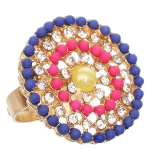 Blue Pink Circular Beaded Adjustable Ring
