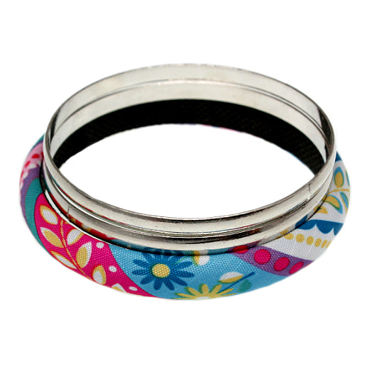 Pink Multicolor Fabric Wrapped Bangle Bracelet Set