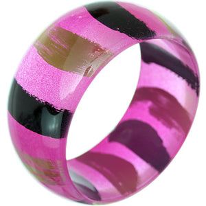 Pink Painted Striped Bangle Bracelet