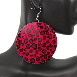Pink Round Thin Spotted Earrings