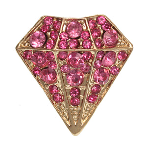 Pink Diamond Shaped Rhinestone Adjustable Ring