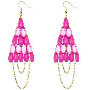 Pink Faceted Drop Chain Chandelier Earrings