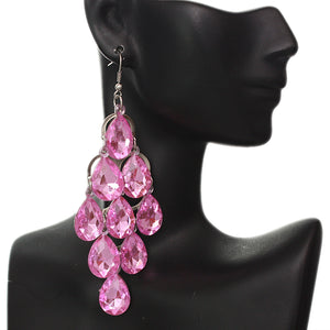 Pink Faceted Teardrop Chandelier Earrings