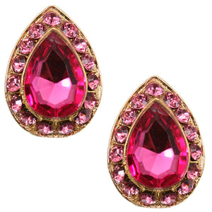 Pink Teardrop Gemstone Post Earrings