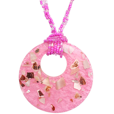 Pink Open Circle Faux Marble Beaded Necklace Set