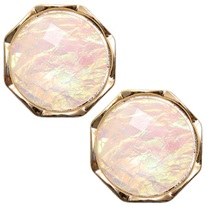 Cream Iridescent Faux Gemstone Post Earrings