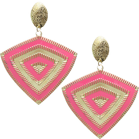 Pink Inverted Triangle Frost Earrings