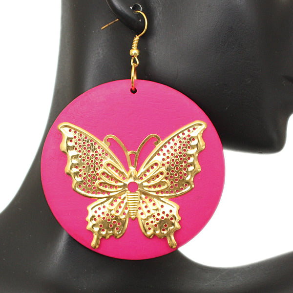 Pink Gold Wooden Butterfly Dangle Earrings