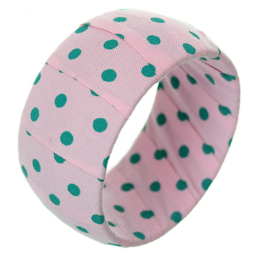 Pink Green Polka Dot Bangle Bracelet