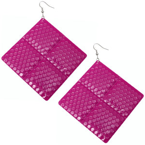 Pink Oversized Hammered Honeycomb Pyramid Earrings
