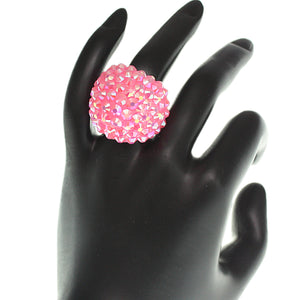 Pink Studded Iridescent Rhinestone Dome Ring