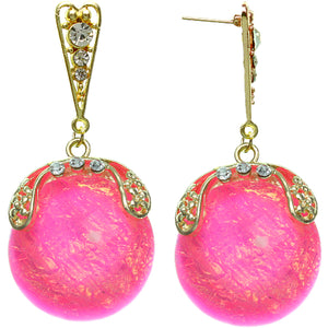 Pink Iridescent Large Gemstone Post Earrings