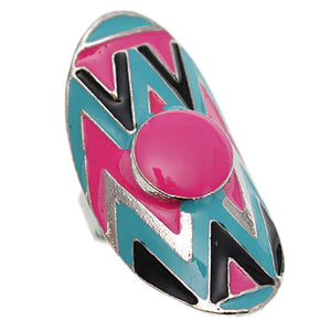 Pink Multicolor Oval Zigzag Chevron Adjustable Ring