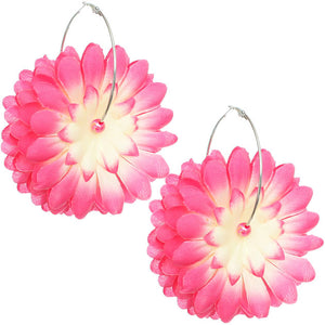 Pink Oversized Large Beaded Flower Hoop Earrings