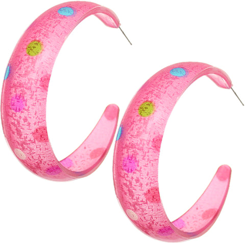 Pink Multicolor Polka Dot Hoop Earrings